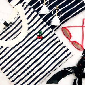 J. Crew Striped Cherry Patch Sweater